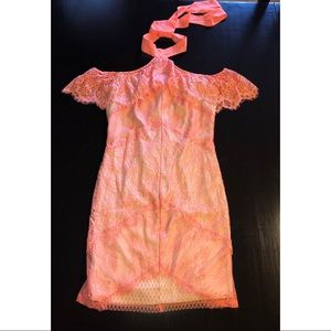 Orange lace bebe dress